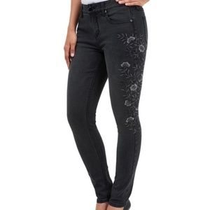 Seven7 Gray Floral Embroidered Jeans